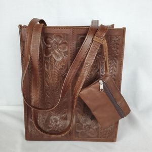 VTG Leather tooled handbag made in Paraguay